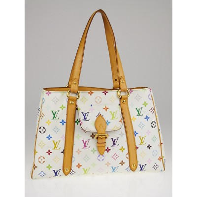 Louis Vuitton White Monogram Multicolore Aurelia MM Tote Bag
