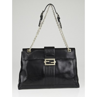 Fendi Black Leather Maxi Baguette Flap Bag 8BT143