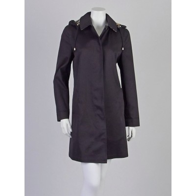 Burberry London Black Cotton Blend Hooded Natasha Rain Coat Size 4