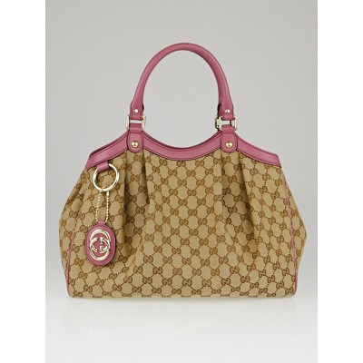 Gucci Beige/Pink GG Canvas Medium Sukey Tote Bag