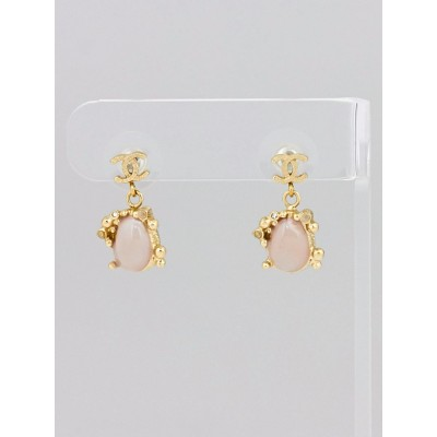 Chanel Goldtone CC Bead Drop Earrings