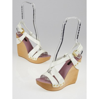 Louis Vuitton White Patent Leather Wedge Sandals Size 6/36.5