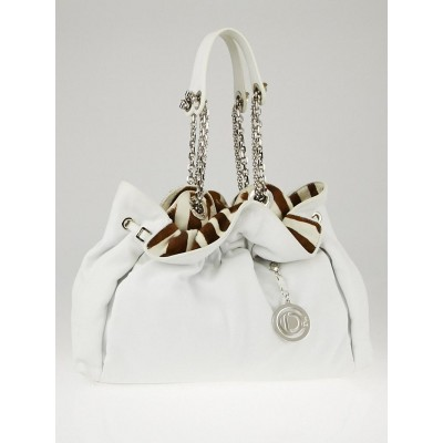 Christian Dior White Leather and Animal Print Pony Hair Le Trente Bag