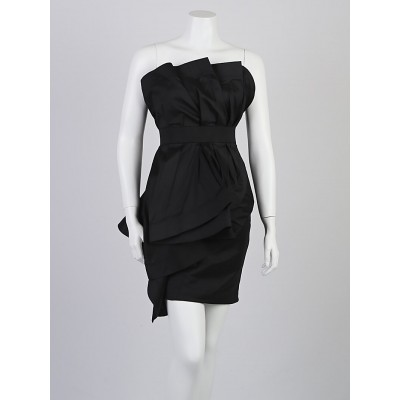 Donna Karan Black Silk Blend Strapless Ruffle Dress Size 2