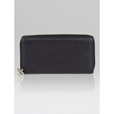 Gucci Black Guccissima Leather Interlocking G Zip Around Wallet