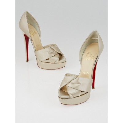 Christian Louboutin Pearl Satin Volpi 150 Peep Toe D'Orsay Pumps Size 4.5/35