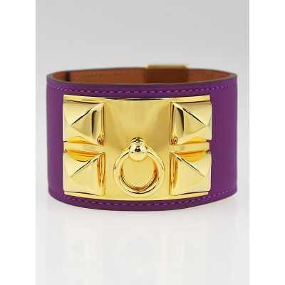 Hermes Anemone Swift Leather Gold Plated Collier de Chien Cuff Bracelet Size L