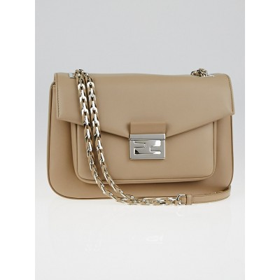 Fendi Taupe Lambskin Leather Be Baguette Bag