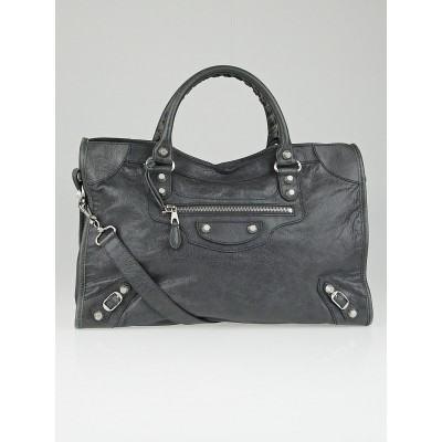 Balenciaga Gris Tarmac Lambskin Leather Giant 12 Silver Motorcycle City Bag