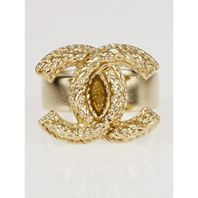 Chanel Goldtone Metal Braided CC Ring Size 6.5