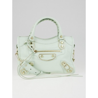 Balenciaga Vert Anis Grained Chevre Leather Metallic Edge Mini City Bag