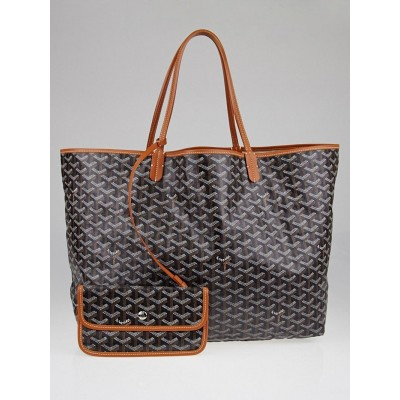 Goyard Black Chevron Print Coated Canvas St. Louis GM Tote Bag