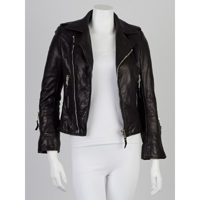 Balenciaga Black Lambskin Leather Classic Biker Jacket Size 4/36