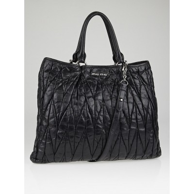 Miu Miu Black Coated Canvas Matelasse Quilted Tote Bag