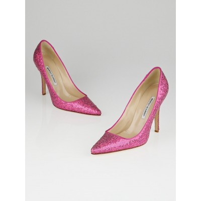 Manolo Blahnik Pink Sequin Ciuzzosa Pointed Toe Pumps Size 9.5/40