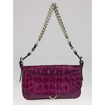 Miu Miu Purple Alligator Chain Evening Bag