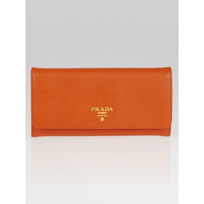Prada Papaya Saffiano Metal Leather Continental Wallet 1M1132