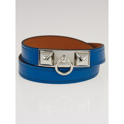Hermes Blue Izmir Tadelakt Calfskin Leather Palladium Plated Rivale Double Tour Bracelet Size M