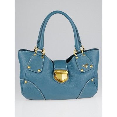 Prada Marine Vitello Daino Leather Shopping Tote Bag BR4627
