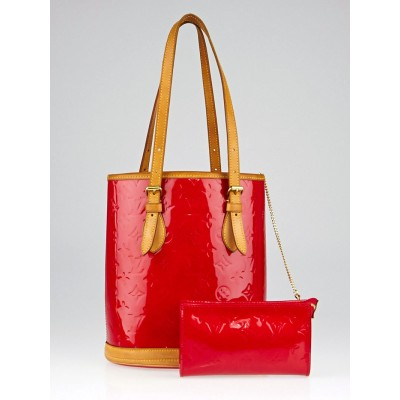 Louis Vuitton Red Monogram Vernis Petit Bucket Bag w/ Accessories Pochette