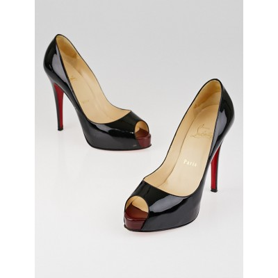 Christian Louboutin Black Patent Leather Very Prive 120 Peep Toe Pumps Size 6.5/37