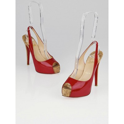 Christian Louboutin Red Patent Leather So Private 120 Cork Slingback Pumps Size 6.5/37