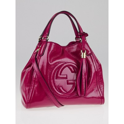 Gucci Pink Patent Leather Soho Shoulder Bag