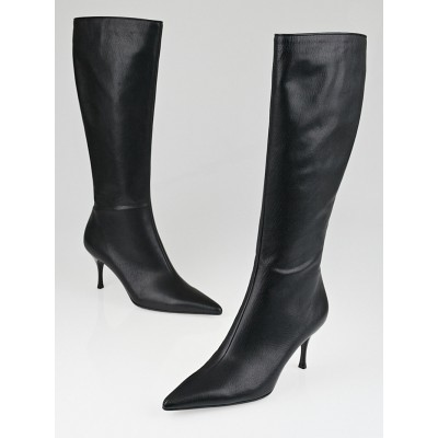 Gucci Black Leather Tall High-Heel Boots Size 9.5