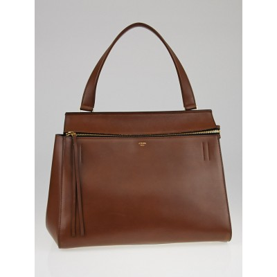 Celine Brown Smooth Calfskin Leather Edge Shoulder Bag