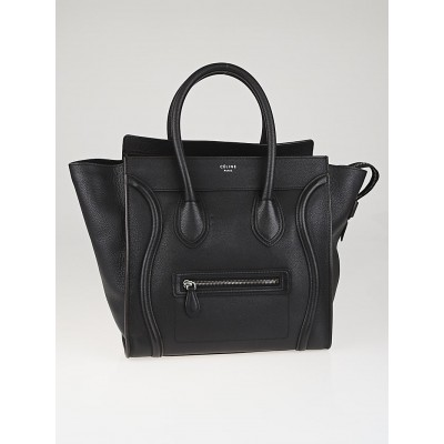 Celine Black Drummed Leather Mini Luggage Tote Bag