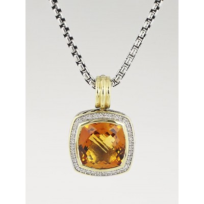 David Yurman 14mm Citrine and Diamond Albion Enhancer and Chain