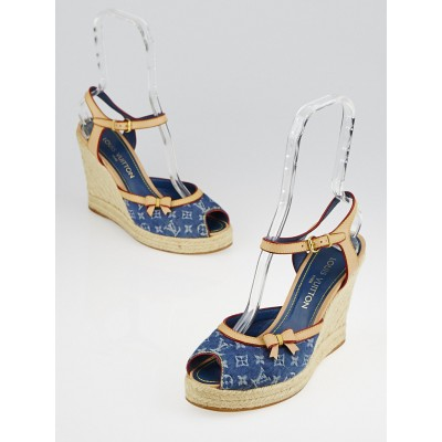Louis Vuitton Blue Denim Monogram Denim Espadrille Wedges Size 8.5/39