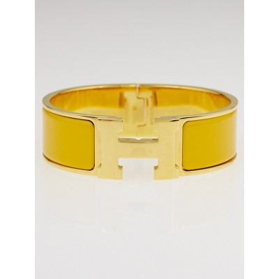 Hermes Sun Yellow Enamel Gold Plated Clic-Clac GM Wide Bracelet