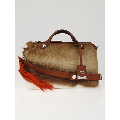 Fendi Natural Springbok Fur and Brown Leather Small By the Way Bag