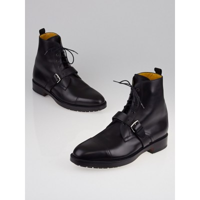 Hermes Black Leather Lace Up Ankle Boots Size 12/42.5