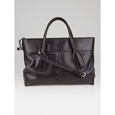 Tod's Chocolate Leather D-Styling 2 Manici Media Tote Bag