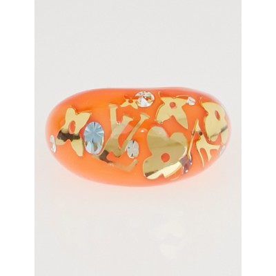 Louis Vuitton Sunset Orange Resin Monogram Inclusion Ring Size 8 L