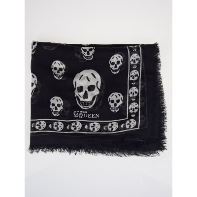 Alexander McQueen Black and White Cashmere/Modal Skull Scarf