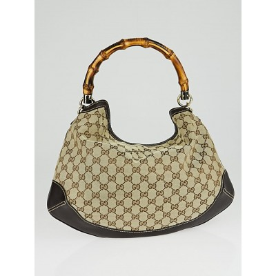 Gucci Brown GG Canvas Peggy Medium Bamboo Top Handle Bag
