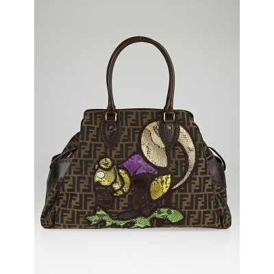 Fendi Limited Edition Tobacco Zucca Canvas Snakeskin Squirrel Medium Du Jour Bag