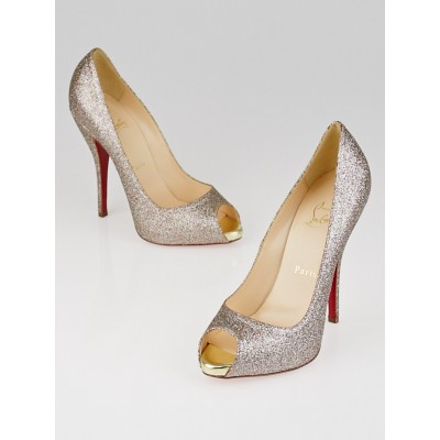 Christian Louboutin Multicolor Glitter Mini Titi 120 Peep Toe Pumps Size 6.5/37