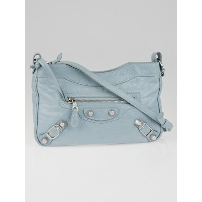 Balenciaga Bleu Dragee Lambskin Leather Giant 12 Silver Hip Bag