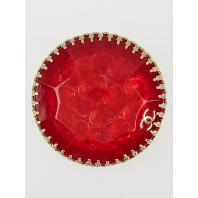 Chanel Red Hammered Resin CC Brooch