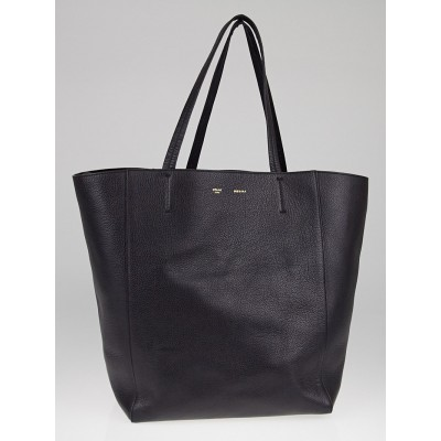 Celine Black Drummed Calfskin Leather Cabas Phantom Tote Bag