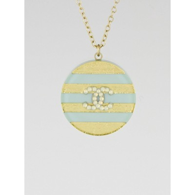 Chanel Blue/Gold Striped Resin CC Pendant Necklace