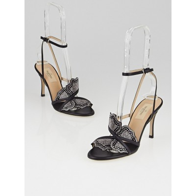 Valentino Black Leather and Crystal Butterfly Sandals Size 6/36.5