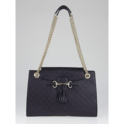 Gucci Black Guccissima Leather Emily Original Chain Shoulder Bag