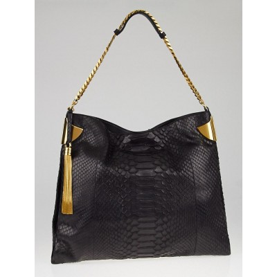 Gucci Black Python 1970 Hobo Bag