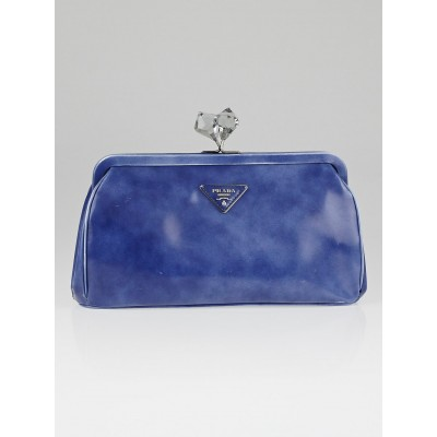 Prada Bluette Spazzolato Leather Diamond Clutch Bag BR0345