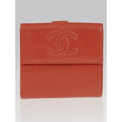 Chanel Coral Caviar Leather CC Compact Wallet